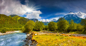 Fantastic landscape with a blue river Royalty Free Stock Photography
