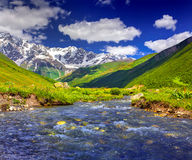 Fantastic landscape with a blue river Stock Images
