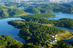 Fantastic landscape, eco lake, Vietnam travel. Fantastic landscape of eco lake for travel at Dalat, Viet Nam, fresh atmosphere, villa among forest, impression stock image
