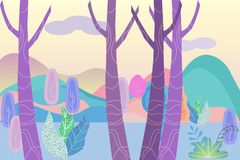 Fantastic landscape in a foggy haze in the early morning. Cartoon horizontal vector illustration of morning forest and distant mo. Untains, vector illustration vector illustration