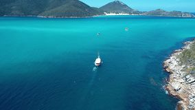 Arraial do Cabo, Brazil: Aerial view of a brazilian caribbean`s beach stock footage