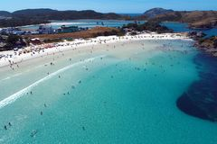 Cabo Frio, Brazil: View of beautiful beach with crystal water. royalty free stock photos