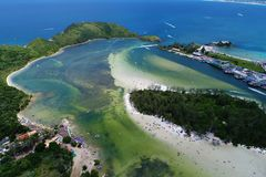 Cabo Frio, Brazil: View of Japanese Island with crystal water. stock photos