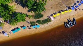 Caraíva, Bahia, Brazil: Aerial view of dark river. Great scene. Fantastic landscape. Great beach view. Caraíva, Bahia, Brazil. Great colors and contrast royalty free stock images