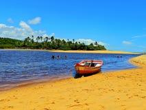 Caraíva, Bahia, Brazil: Dark river. Great scene. Fantastic landscape. Great beach view. Caraíva, Bahia, Brazil. Great colors and contrast stock photos