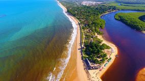 Caraíva, Bahia, Brazil: Aerial view of a beautiful beach with two colors of water. Fantastic landscape. Great beach view. Caraíva, Porto Seguro, Bahia stock photography
