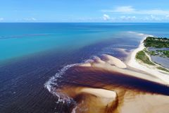 Corumbau, Bahia, Brazil: View of beautiful beach with two colors of water. stock photo