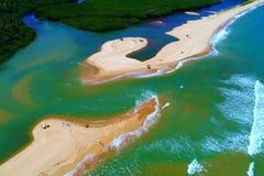 Cumuruxatiba, Bahia, Brazil: Aerial view of a beautiful beach scene. stock photography