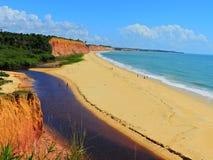 Cumuruxatiba, Bahia, Brazil: Aerial view of a blue sea and clear weather. Fantastic landscape. Great beach view. Cumuruxatiba, Bahia, Brazil royalty free stock image