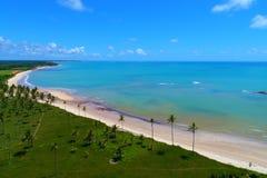 Cumuruxatiba, Bahia, Brazil: Aerial view of a blue sea and clear weather. Fantastic landscape. Great beach view. Cumuruxatiba, Bahia, Brazil stock photos