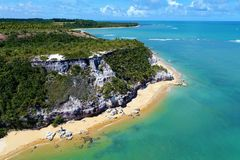 Trancoso, Bahia, Brazil: View of beautiful beach with crystal water. Fantastic landscape. Great beach view. Trancoso, Bahia, Brazil. Great colors and contrast stock image