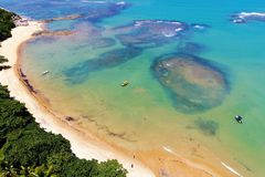 Trancoso, Bahia, Brazil: View of beautiful beach with crystal water. Fantastic landscape. Great beach view. Trancoso, Bahia, Brazil. Great colors and contrast stock photo