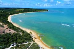 Trancoso, Bahia, Brazil: View of beautiful beach with crystal water. Fantastic landscape. Great beach view. Trancoso, Bahia, Brazil. Great colors and contrast royalty free stock image