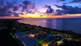 Aerial view of a sunrise on the beach. Great beach scene. Fantastic landscape. Great colors and contrast. Porto Seguro, Bahia, Brazil stock image