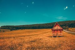 Fantastic landscape lonely wooden house in the mountains/hills with forest in background meadow hill with yellow house color gradi. Ng stock photo