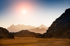 Fantastic landscape with mountains at sunset Stock Image