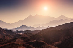 Fantastic landscape with mountains at sunset Royalty Free Stock Photo
