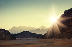 Fantastic landscape with mountains at sunset Stock Photography