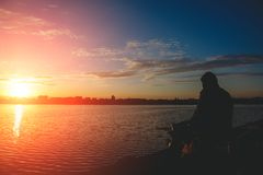 Fantastic landscape, multicolor sky over the lake. majestic sunrise. use as background. color in nature. Fantastic landscape, multicolor sky over the lake royalty free stock image