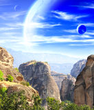 Fantastic landscape with planet Royalty Free Stock Image