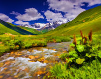 Fantastic landscape with a river in the mountains. Stock Photography