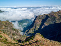 Fantastic Landscape Rocky Mountains with Clouds Madeira Island Royalty Free Stock Photography
