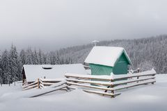 Fantastic landscape with snowy house Royalty Free Stock Image