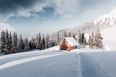 Fantastic landscape with snowy house Stock Image