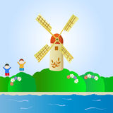 Fantastic landscape with windmill and children. Flower landscape with windmill and happy children Stock Photos