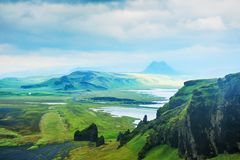 Fantastic landscapes with green lava fields in Iceland. Summer landscape royalty free stock photos