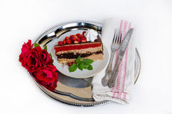 Fantastic layered cake with roses Royalty Free Stock Photo