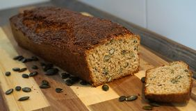 Bread with pumpkin seeds stock photography