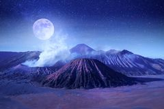 Free Fantastic Lunar Landscape In The Mountains Of Indonesia. Bromo Volcano. Java Island. Stars And Moonlight Stock Photo - 122256590