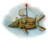 Fantastic machine design fish. Fantastic illustration of a means of transport in the shape of a fish Stock Photography