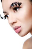 Fantastic makeup with long lashes. Studio,white background Royalty Free Stock Photography