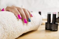 Fantastic manicure in a modern. Beauty shop stock image