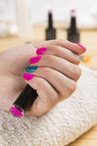 Fantastic manicure in a modern. Beauty shop royalty free stock image