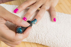 Fantastic manicure in a modern. Beauty shop stock photos