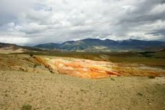 Fantastic Martian landscape. Mars. Red mountains. Stock Photos