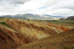 Fantastic Martian landscape. Mars. Red mountains. Stock Photo