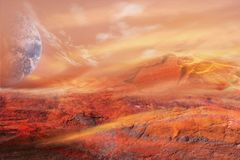 Fantastic martian landscape . Planet Mars Royalty Free Stock Photography