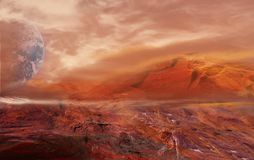 Fantastic martian landscape . Planet Mars Royalty Free Stock Photo