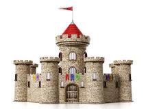 Fantastic medieval castle isolated on white background.  royalty free illustration