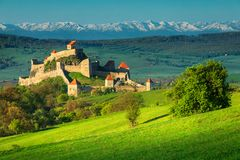 Fantastic medieval fortress in Rupea, Brasov region, Transylvania, Romania, Europe stock images