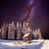 Fantastic milky way in the New Year's Eve Royalty Free Stock Photography