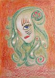 Fantastic monster girl with one eye drawing chalk pencil royalty free stock photos