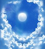 Fantastic moon and beautiful clouds. Night sky with fantasy beautiful clouds and moon royalty free stock photography