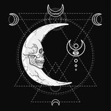 The fantastic moon, in the form of a human skull. Esoteric symbol, sacred geometry. Stock Images