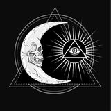Fantastic moon, in the form of a human skull. Esoteric symbol, sacred geometry. Royalty Free Stock Image