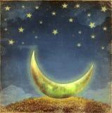 Fantastic moon and stars Stock Photo